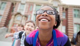 elementary students having fun outside