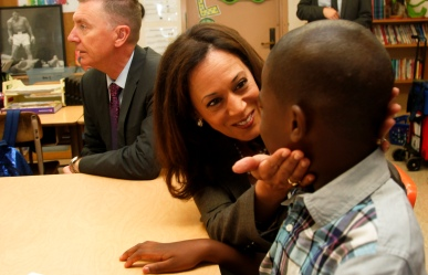 LOS ANGELES, CALIFORNIA, AUGUST 12, 2014: State Attorney General Kamala Harris talks to a 5th grade