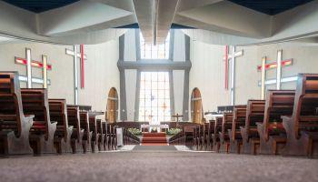 Aisle in church toward altar