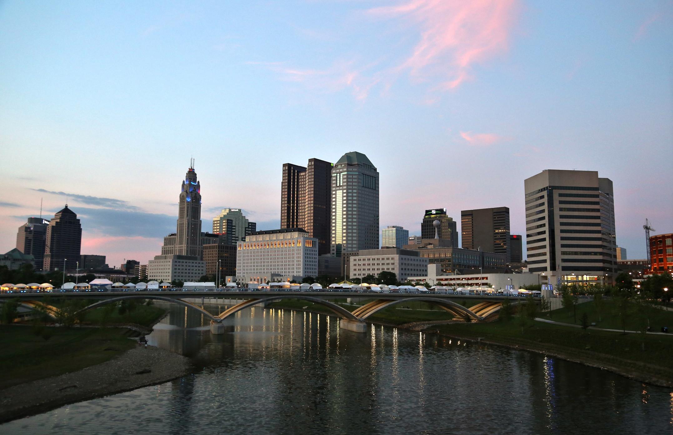 Downtown City skyline along the River, Columbus, Ohio, USA