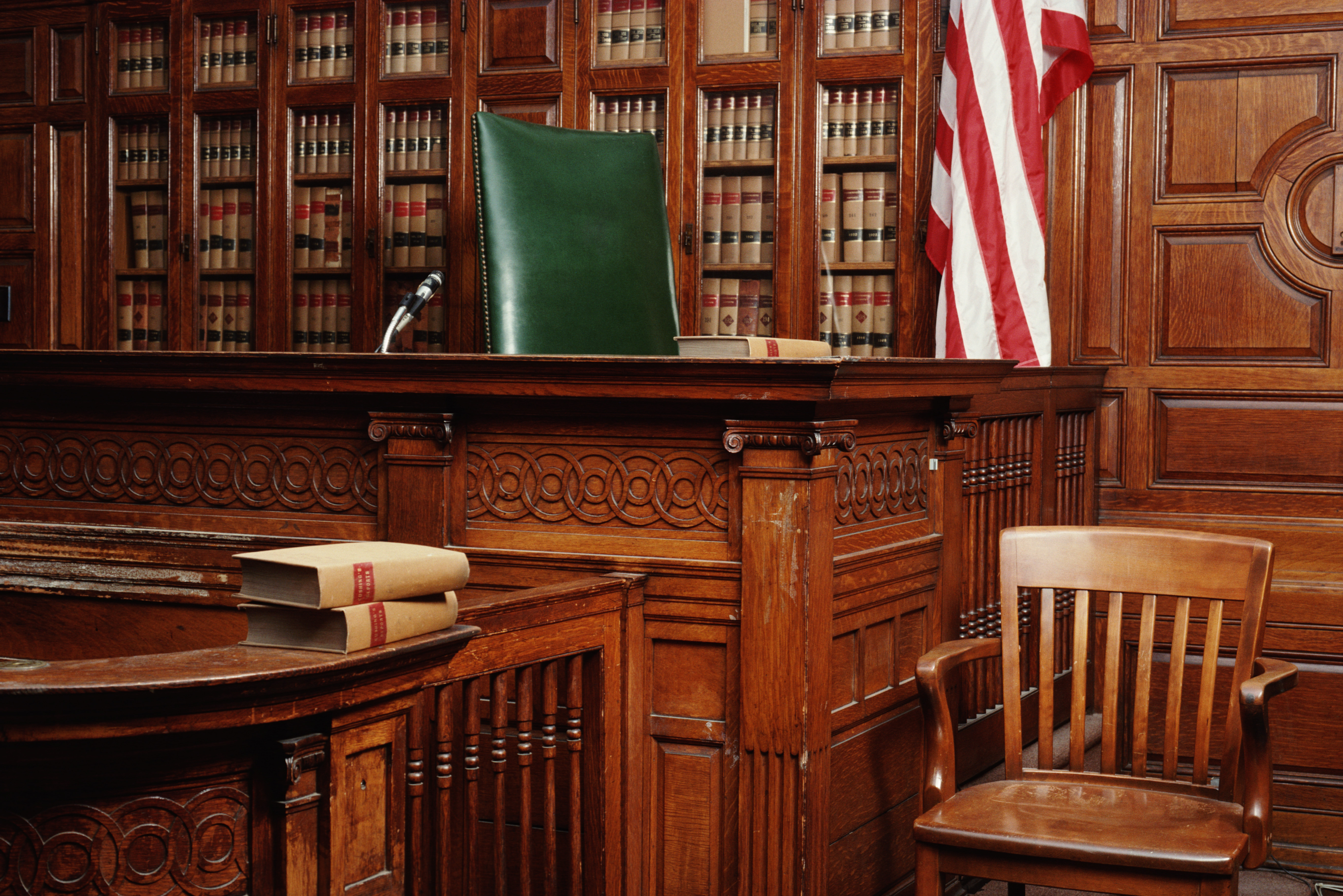 INTERNAL OF A COURTROOM WITH FLAG IN BOSTON, MASSACHUSETTS