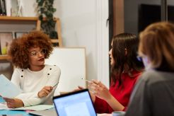 Business professionals are planning during meeting
