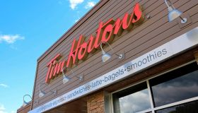 Tim Hortons restaurant sign at entrance